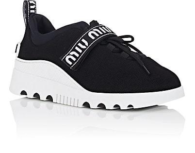 MIU MIU  Logo-Strap Tech-Knit Platform Sneakers - $590