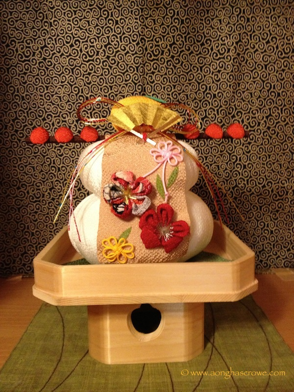 The faux  kagami mochi  in my home.