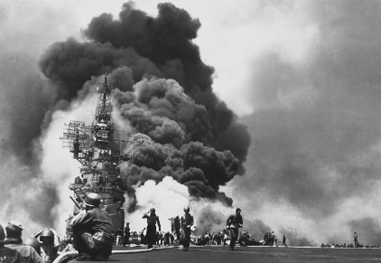USS Bunker Hill after being hit twice by  kamikaze .