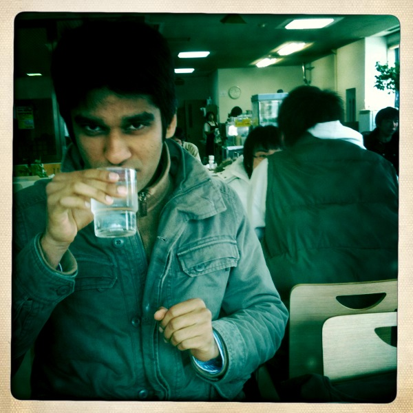 Adi drinks water as if it were 80 proof.