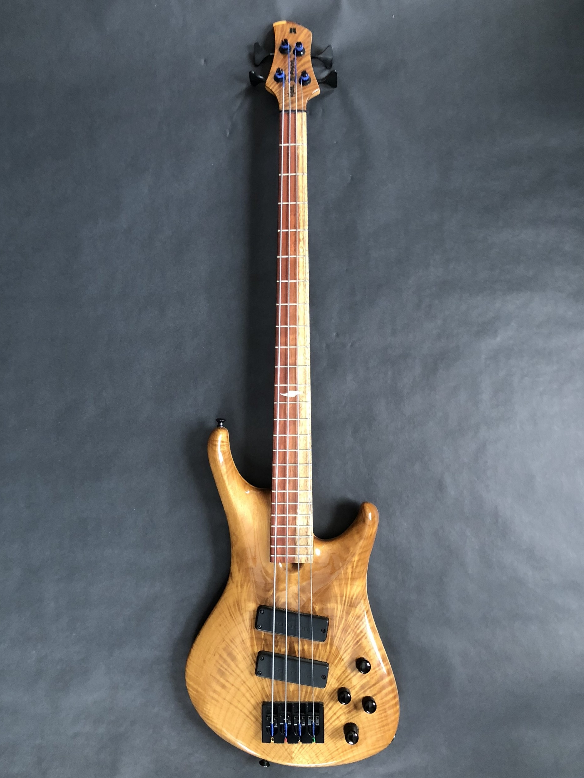 Roscoe Century 3001 Bass with Burled Myrtle Top and Spalted Purplewood Fretboard