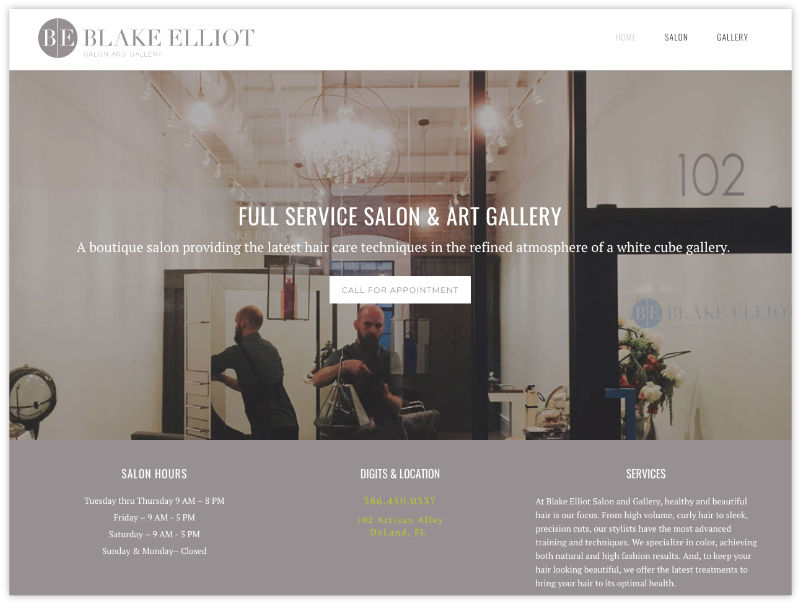 The Request - Create a unique web presence representative of the Blake Elliot brand and the dual-purpose shop, functioning as both salon and white cube gallery.