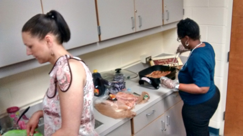 That's me frying bacon for the the staff!