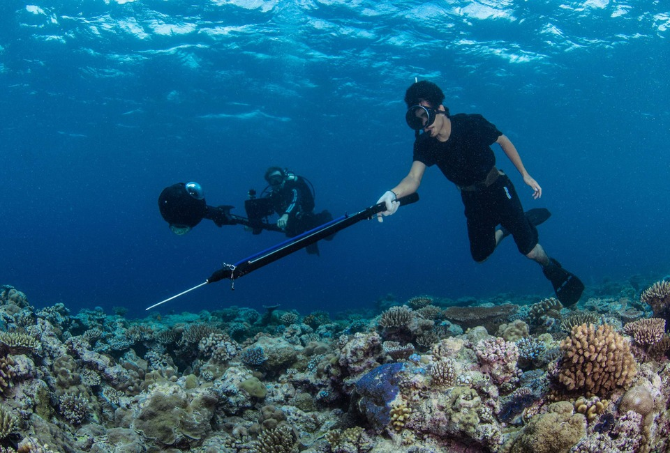 A local spear fisherman dives next to a diver collecting 360-degree imagery of a coral reef in Palau. (©The Ocean Agency)