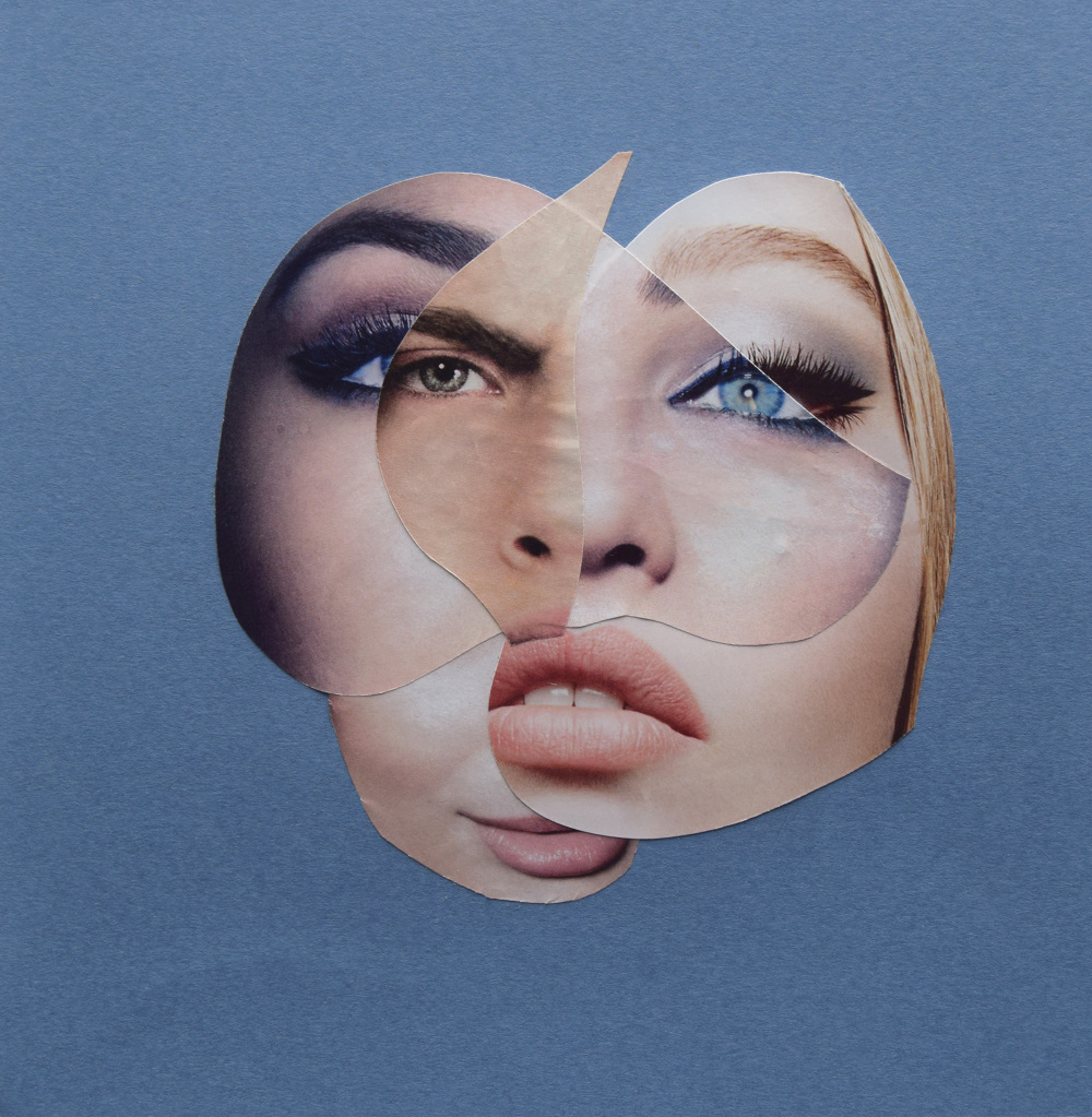 Serving Face  Hand Cut Paper Collage