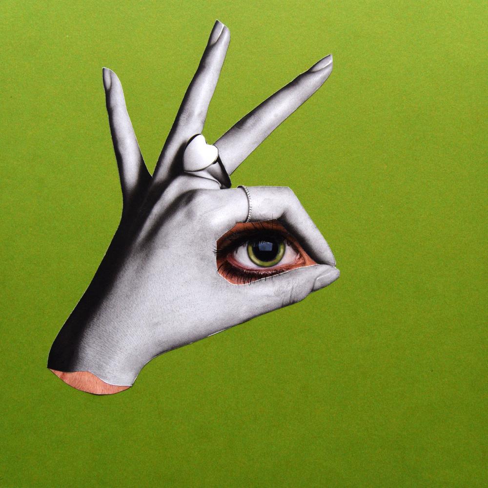 Eye spy  Hand Cut Paper Collage