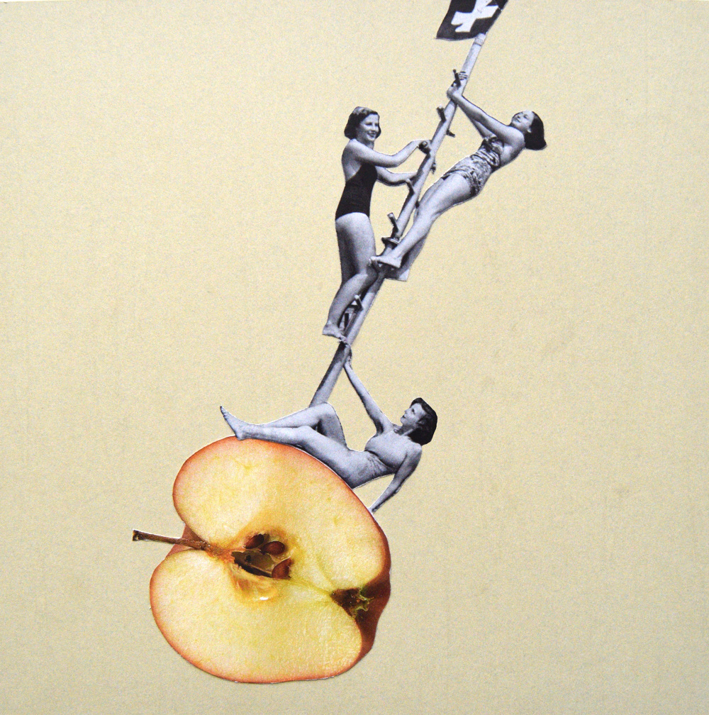 Who needs men when you can go apple bobbing  Hand Cut Paper Collage