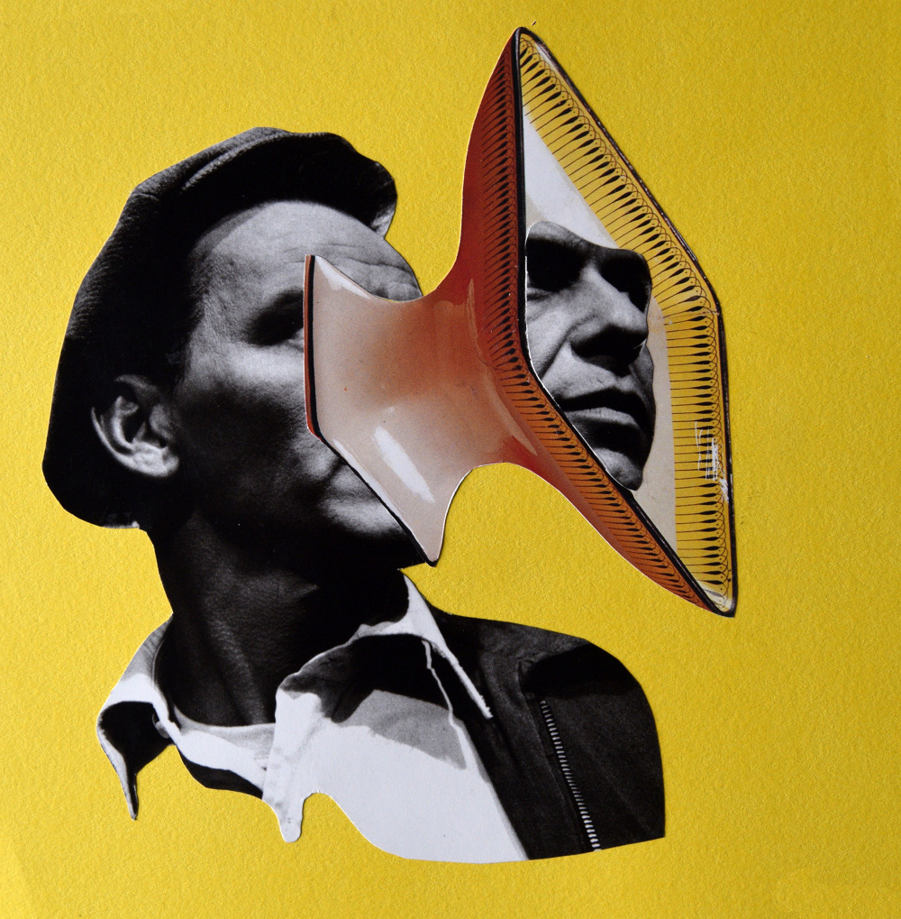 Talk to Frank  Hand Cut Paper Collage