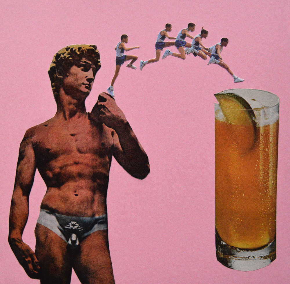 One night stand  Hand Cut Paper Collage