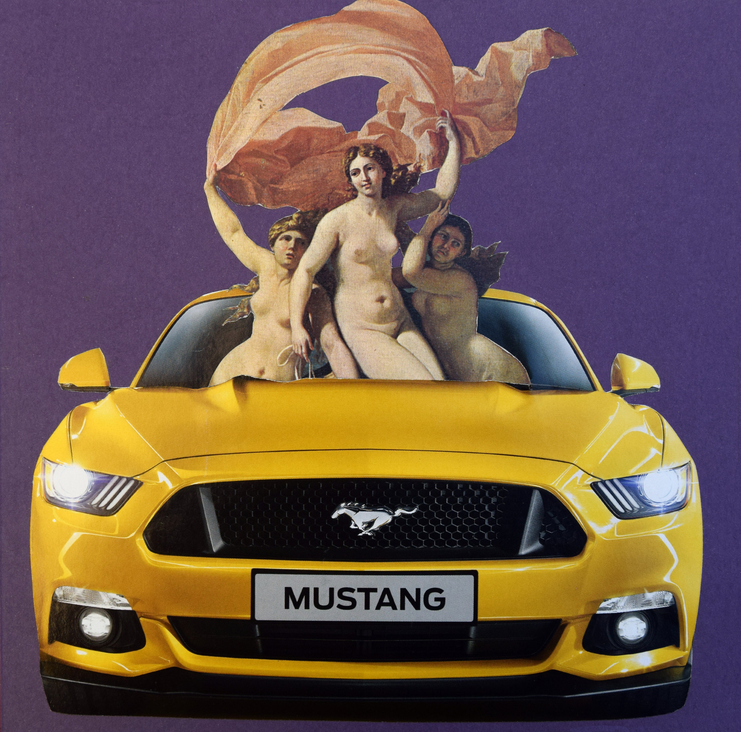 Get in girls we're going shopping  Hand Cut Paper Collage