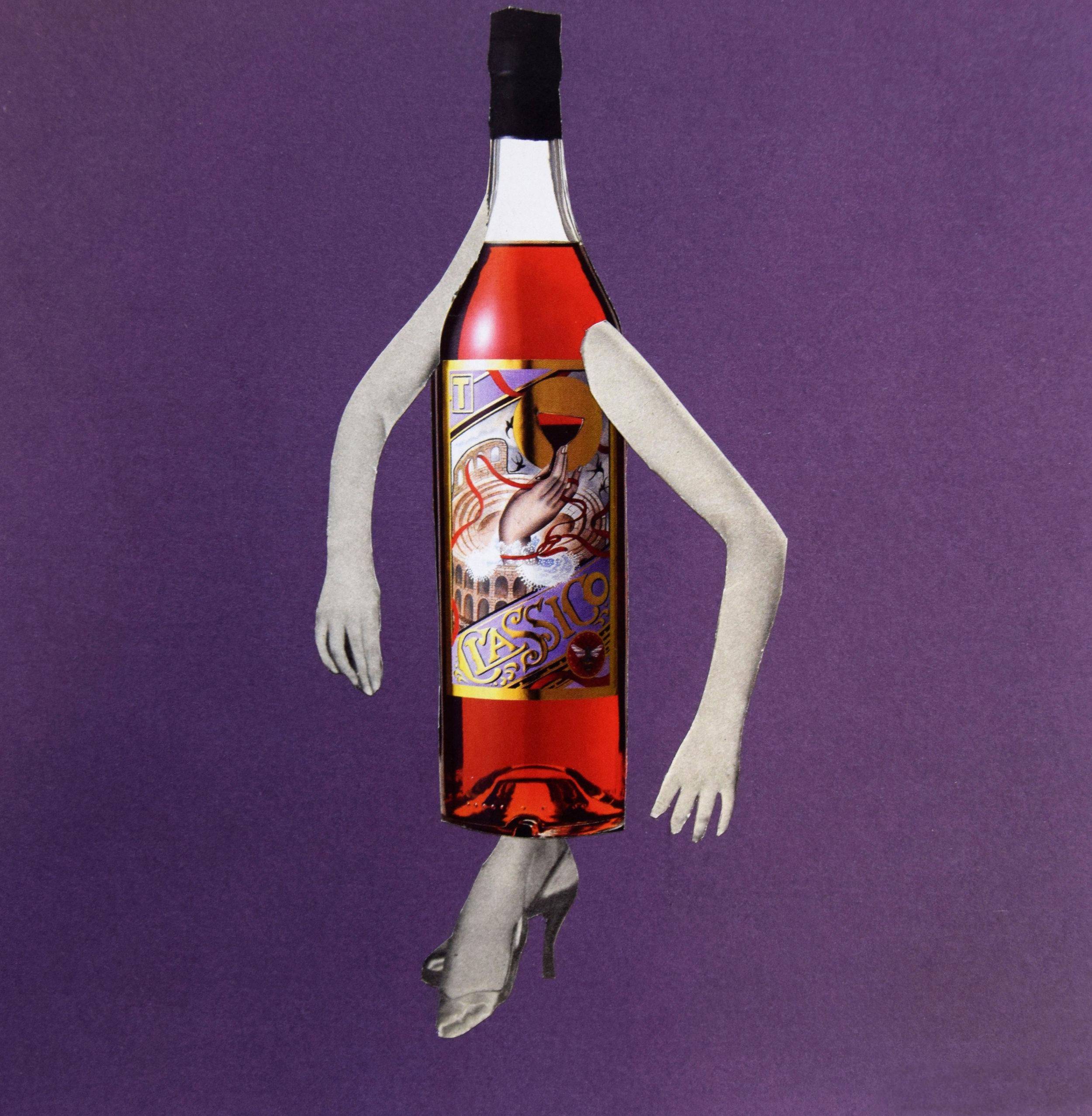 Wine o'clock  Hand Cut Paper Collage