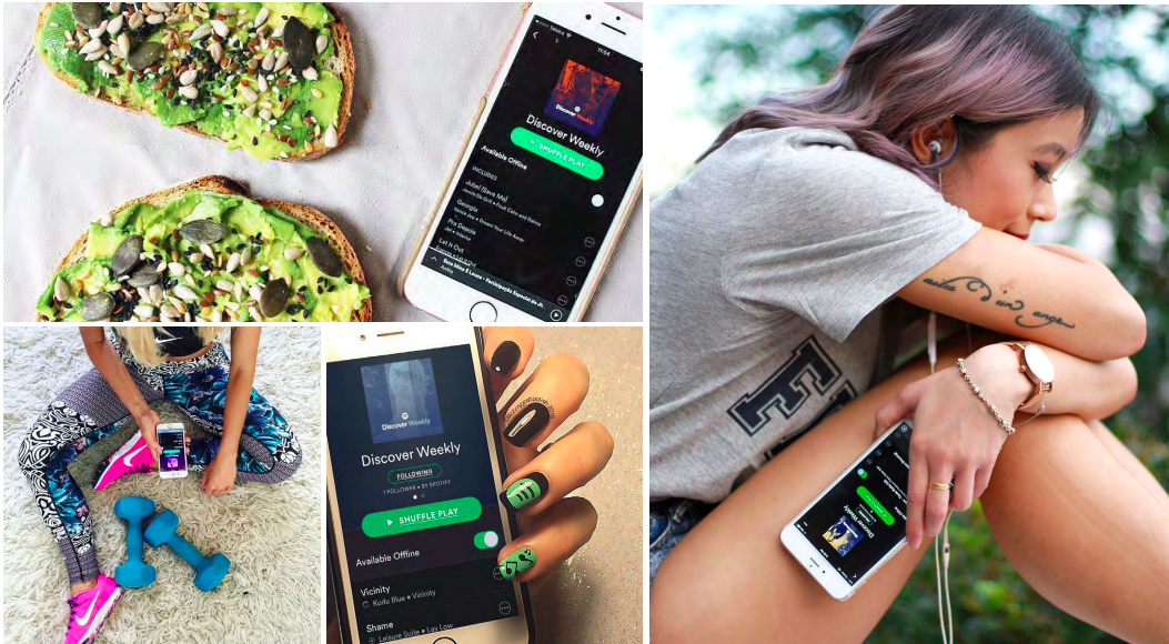 Posts from Spotify's Discover Weekly micro-influencer campaign, courtesy of  Tribe