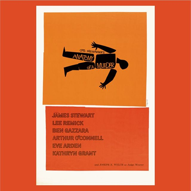 In the studio this week we are revisiting the works of iconic designer Saul Bass. (Anatomy of a Murder. 1959, dir. Otto Preminger)