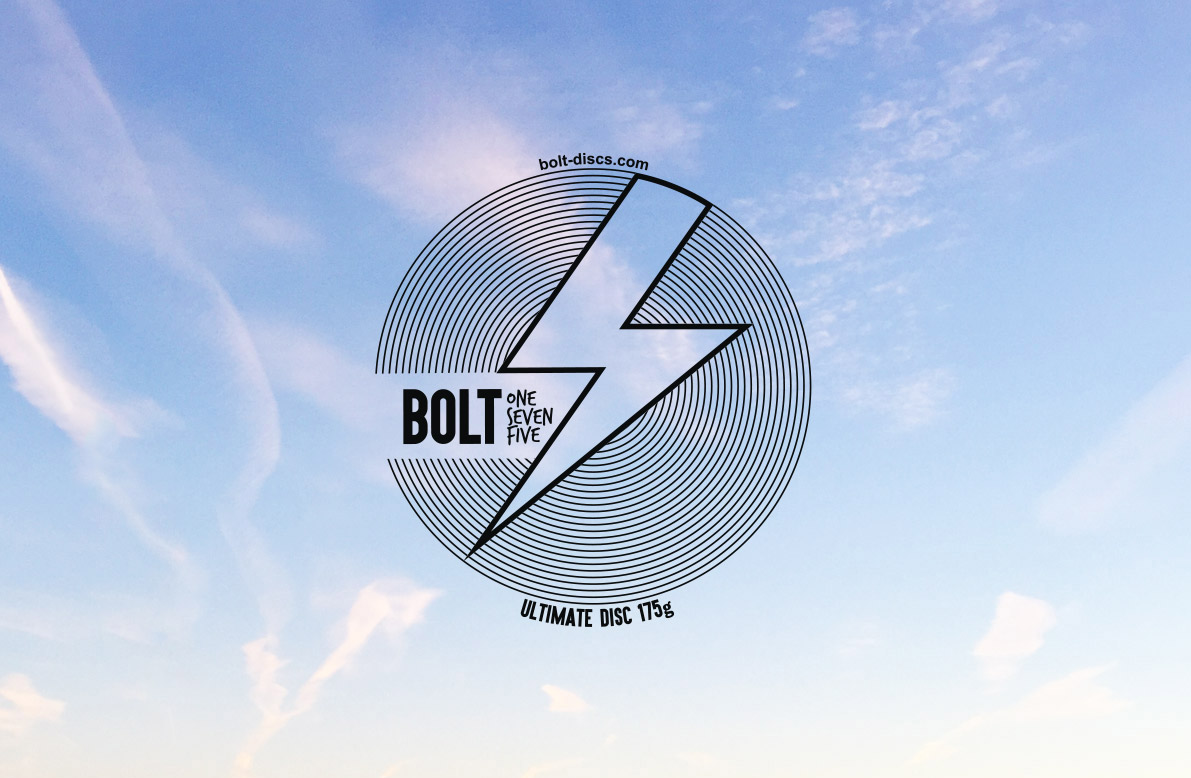 Bolt frisbee - Design for a frisbee to be sold primarily at festivals. It needed to stand out against competing products on the shelf, and appeal to children and adults alike.
