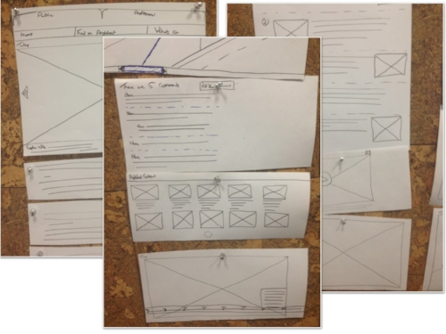 Early sketches which were cut up into modules of content and reassembled to test if they still worked