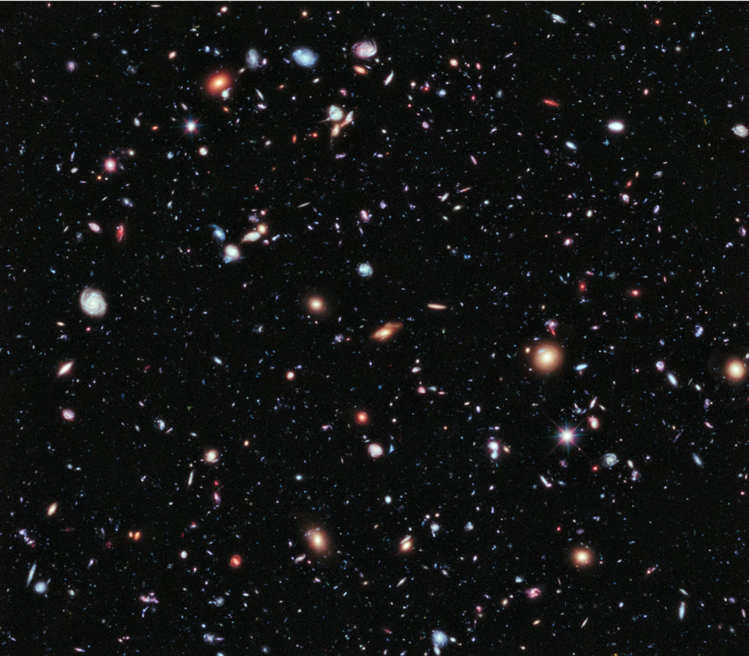 The eXtreme Deep Field (XDF), a combination of 10 years' worth of telescopic views by the Hubble Space Telescope of the same patch of sky.  Taken from  https://www.space.com/17755-farthest-universe-view-hubble-space-telescope.html