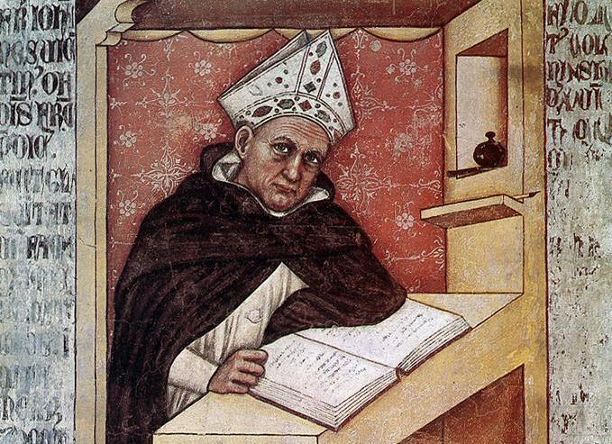 Tommaso da Modena.  St Albertus Magnus . Fresco at the Church of San Nicolò, Treviso, Italy.