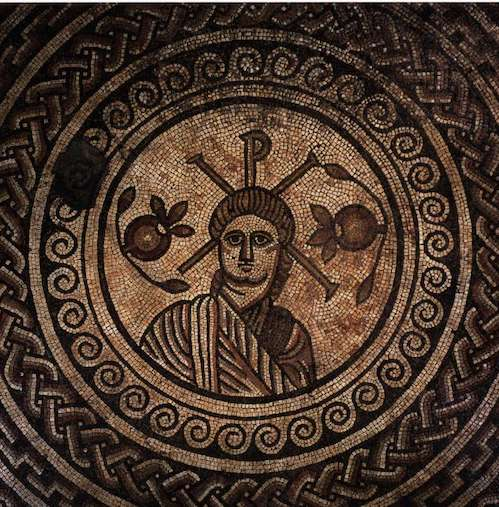 Mosaic from Hinton St Mary, now at the British Museum.  4th century.
