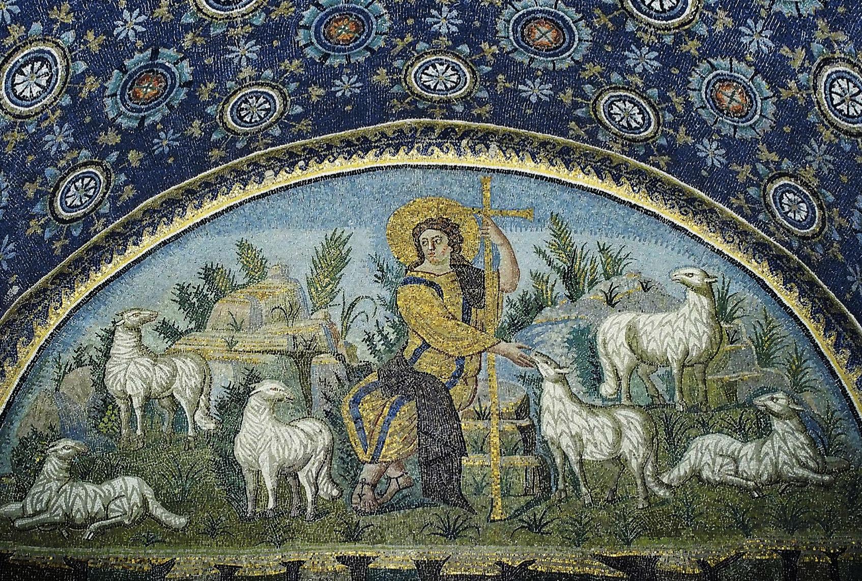 Christ the Good Shepherd.  Mausoleum of Galla Placidia, Ravenna. 5th century.