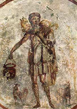Christ the Good Shepherd . Fresco in the Catacomb's of St Callisto. 3rd century.