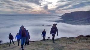 Emerging from the mists of the Olchon Valley on the Cat's Back