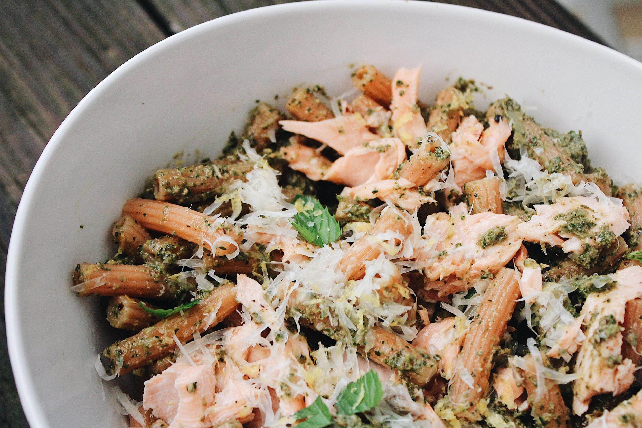 MY Portuguese Mother // Salmon Pesto Pasta