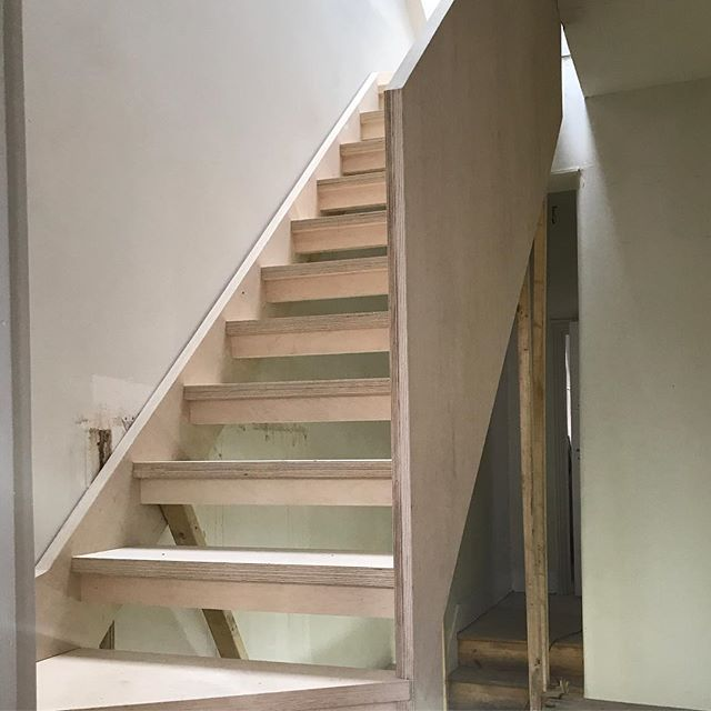 Bespoke open tread birch faced plywood staircase to connect existing house to new loft conversion in #se4 #loft #refurbishment #construction #plywood #stairs