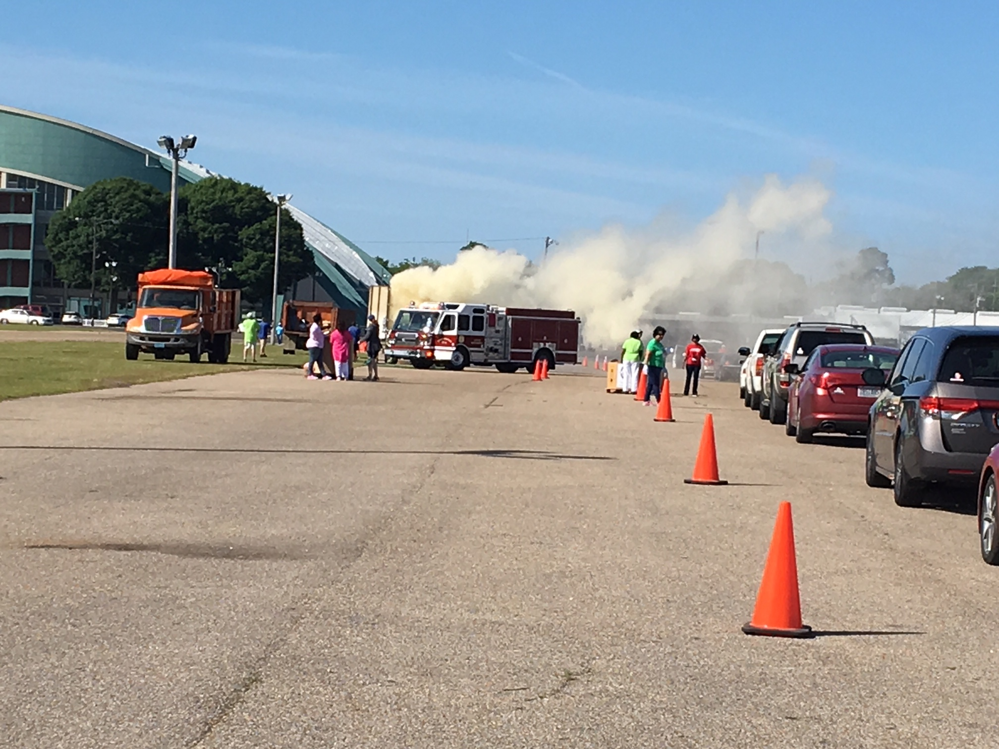 Our April 13, 2018 event was exciting, to say the least. One of our shredding trucks caught on fire- which provides us with a great example of why it's important to only bring paper to shredding. This fire was most likely caused by a lithium battery that was mixed in with someones paper.   Thank you to Montgomery Fire Department for your amazing response time!