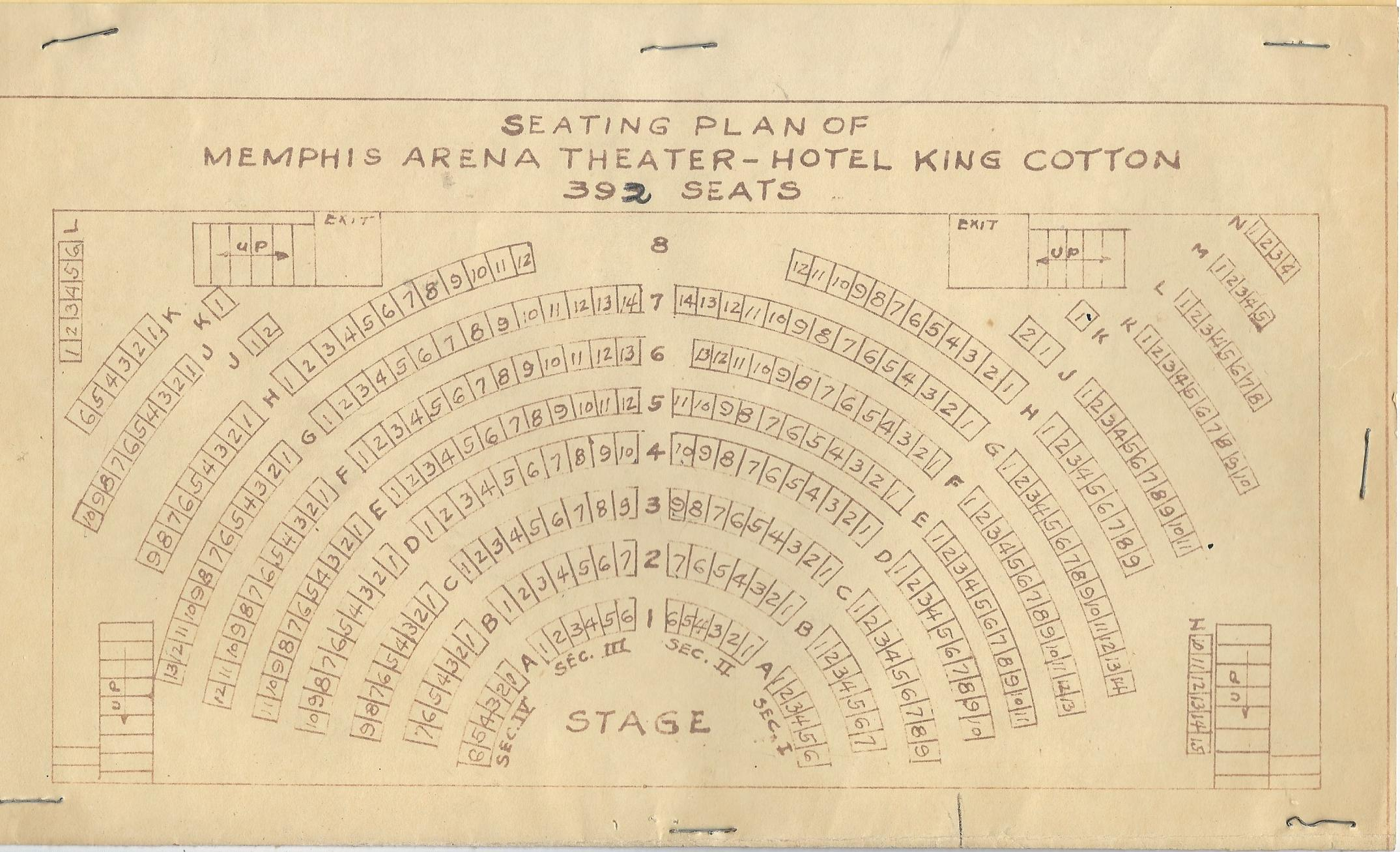 Floor Plan of the Front Street Theatre while at the King Cotton Hotel (previously called Theatre12)