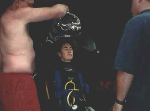 Once out of the water, it was a relief to get the helmet off. Superlites are really not very light!