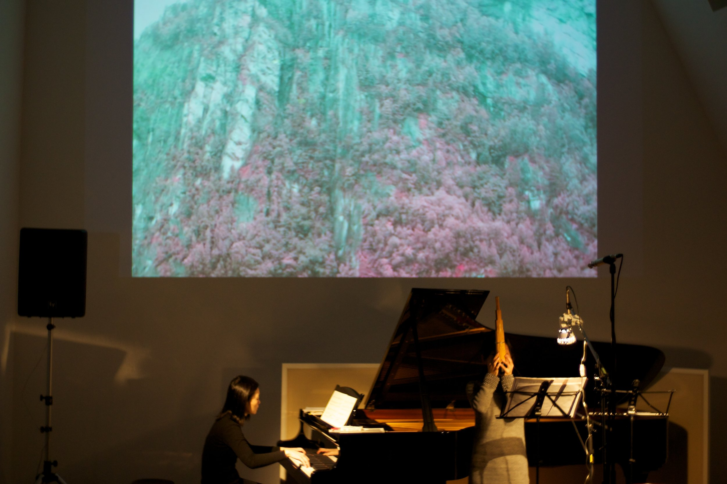 NymphéArt 7th  concert, a fusion of sho, piano, electronics and video works, Tokyo, Japan.  World premiere  of   Ascendant/Descendant