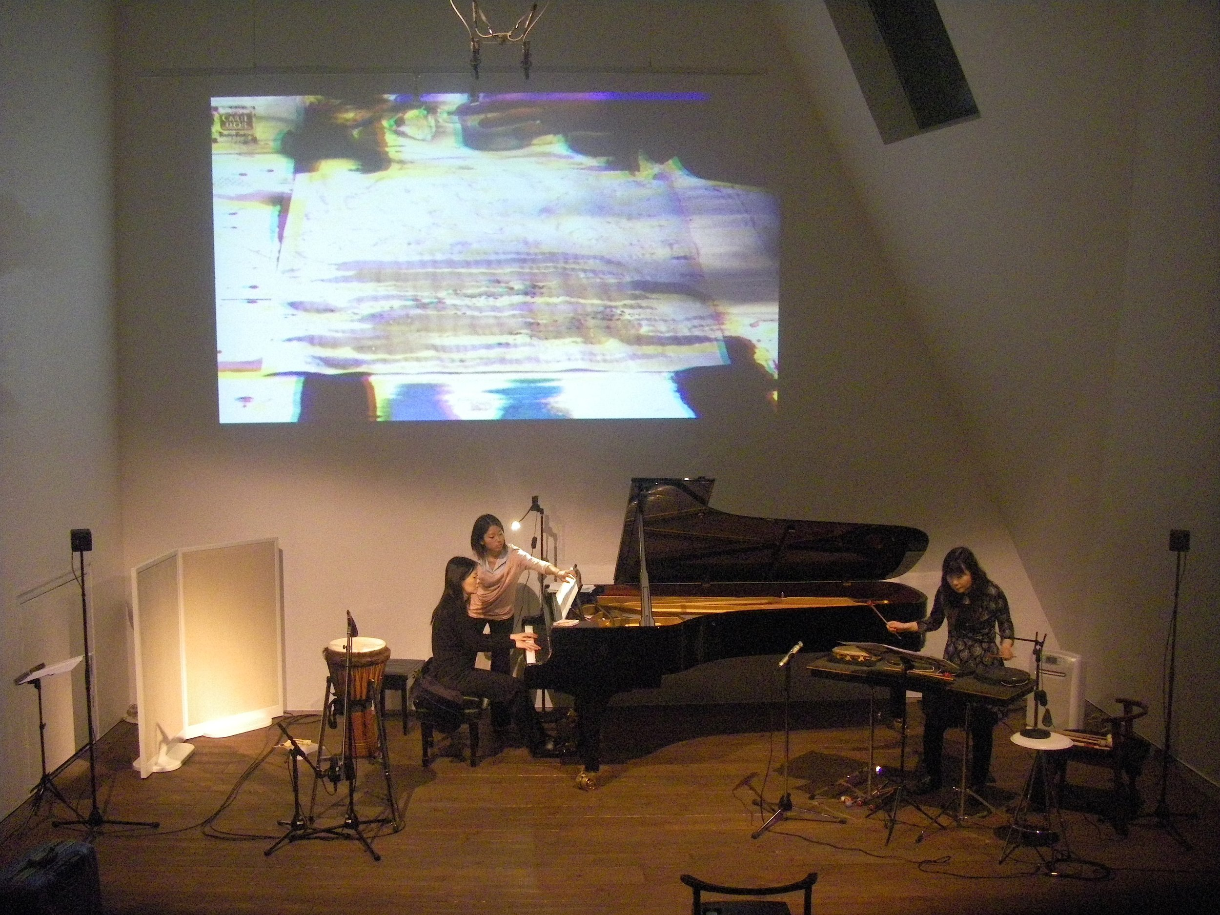 Malleus  「 槌 」(2012) Music by Johnathan F. Lee, for piano, percussion, and electronics. Live-video by Elaine Thomazi Freitas.  World premiere .