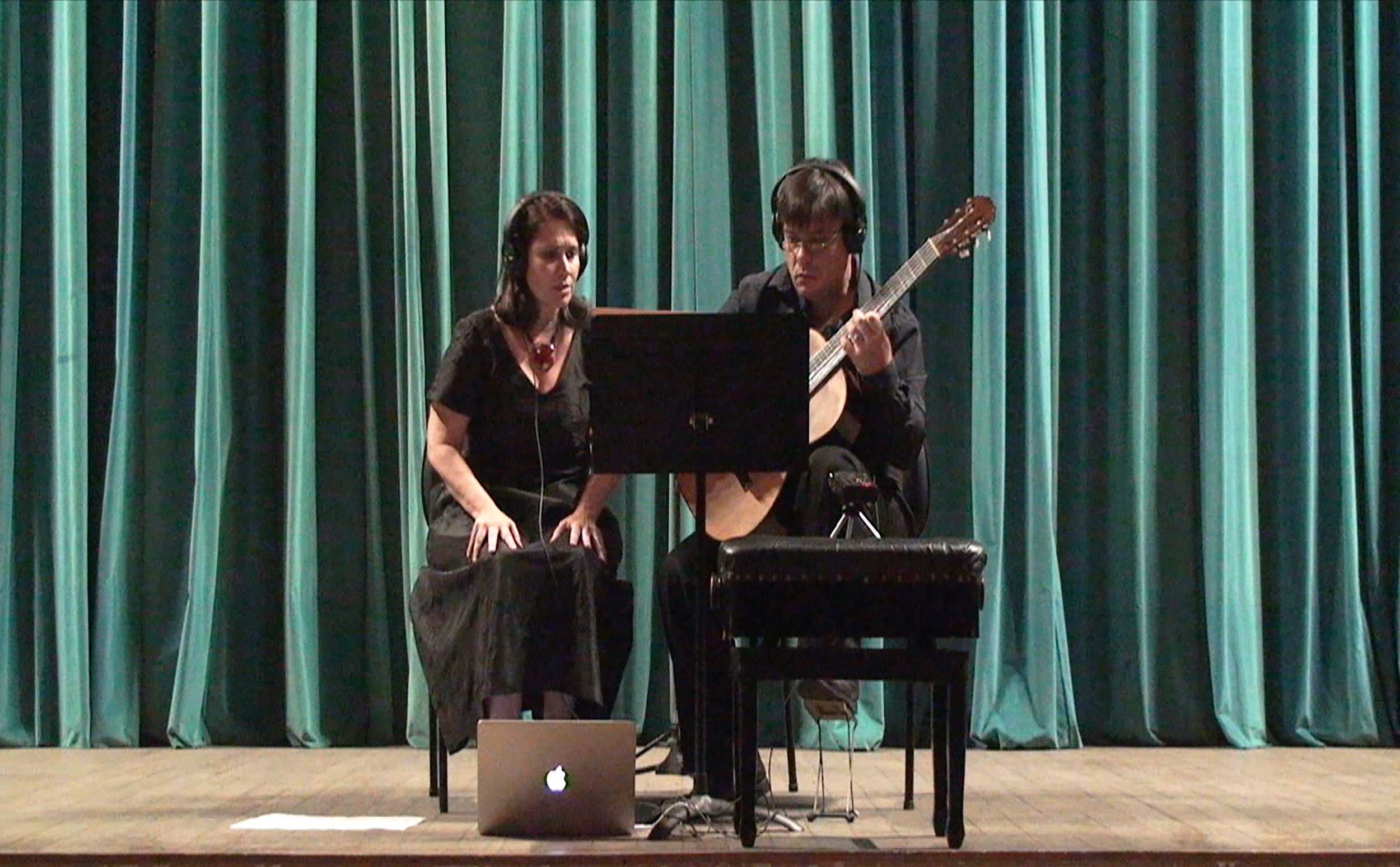 Duo Adour  [soprano Andréa Adour and guitarist Fabio Adour] School of Music of the Federal University of Rio de Janeiro, Salão Leopoldo Miguez, Rio de Janeiro, Brazil.   Day 1   recording session, September 2017.