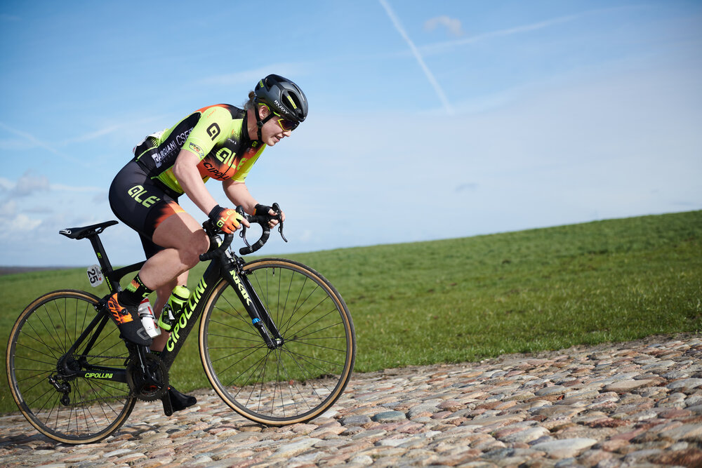 Marjolein van 't Geloof (NED) attacks the VAMberg cobbles at Drentse 8 van Westerveld 2019, a 145 km road race starting and finishing in Dwingeloo, Netherlands on March 15, 2019. Photo by Sean Robinson/velofocus.com
