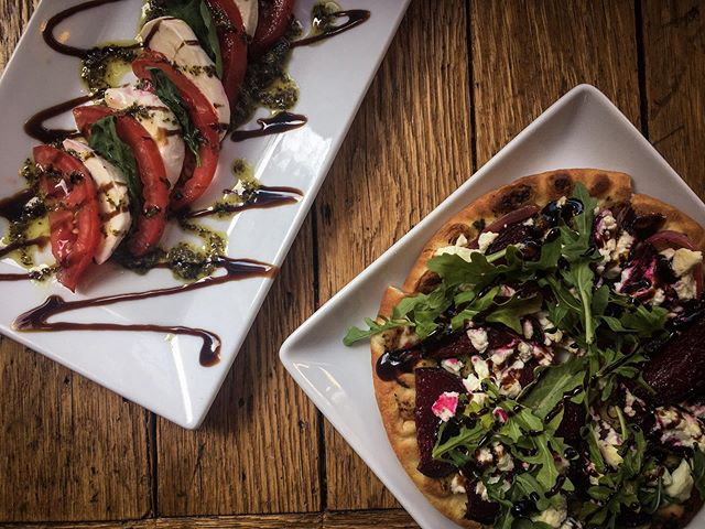 Dinner specials tonight!!!!! Roasted beet and goat cheese pita pizza  Tomato mozzarella Caprese salad