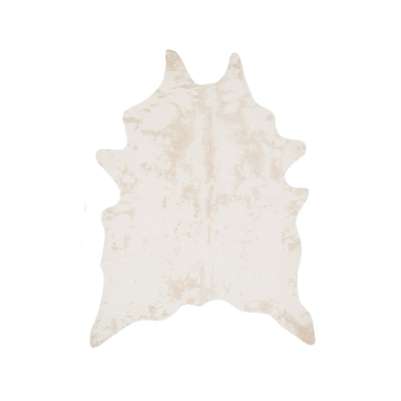 "SMALL WHITE COWHIDE RUG   5'l x 43""h"