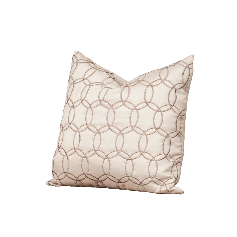 """IVORY & TAUPE SILK PILLOW   18""""l x 18""""h"""