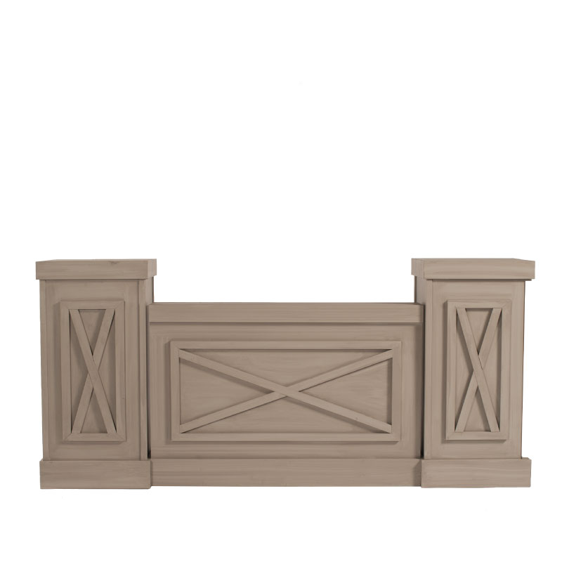 """MORELAND STAGE FACADE   Sections: 4'l x 9''w x 3'h; columns 20""""l x 20""""w x 45""""h"""