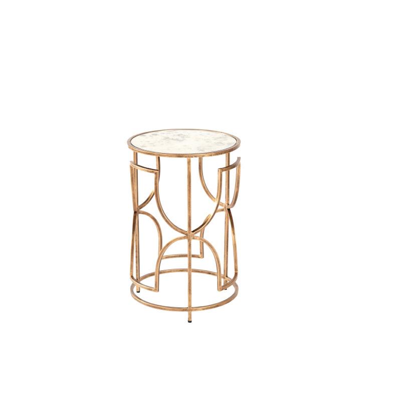 "ANTIQUE GOLD SIDE TABLE   15"" diameter x 24""h"