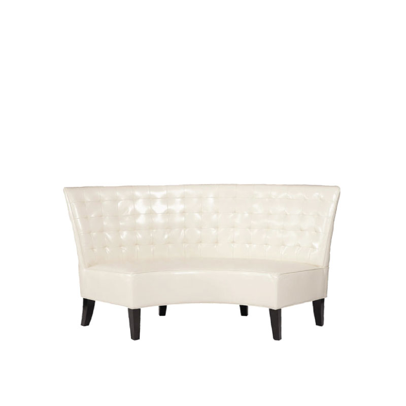 """CURVED WHITE LEATHER BANQUETTE   72""""l x 44""""w x 41""""h"""