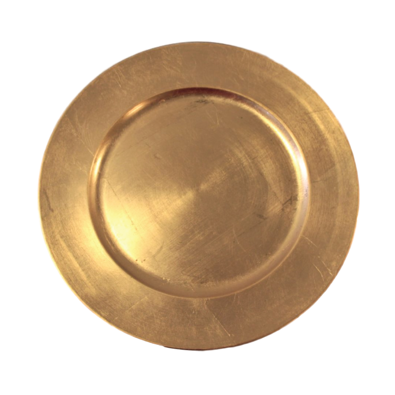 "ACRYLIC GOLD CHARGER   available in: Charger Plate (13"")"