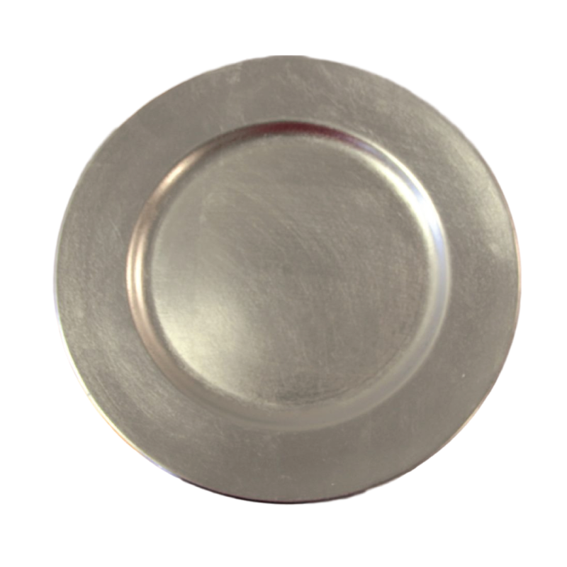 "ACRYLIC SILVER CHARGER   available in: Charger Plate (13"")"