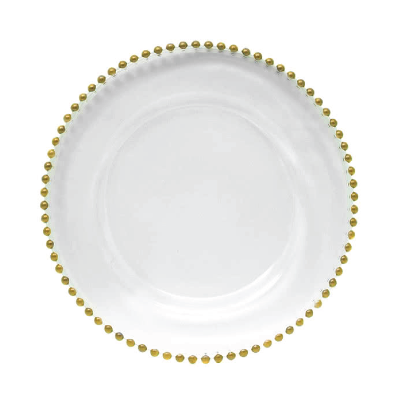 "GLASS GOLD BEADED CHARGER   available in: Charger Plate (12.5"")"