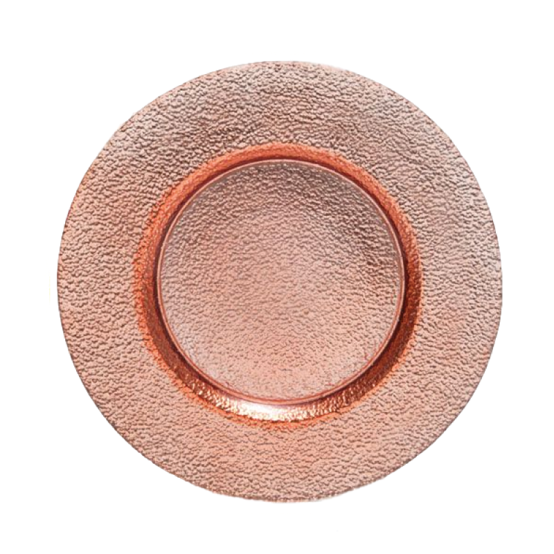 "GLASS COPPER CHARGER   available in: Charger Plate (13"")"