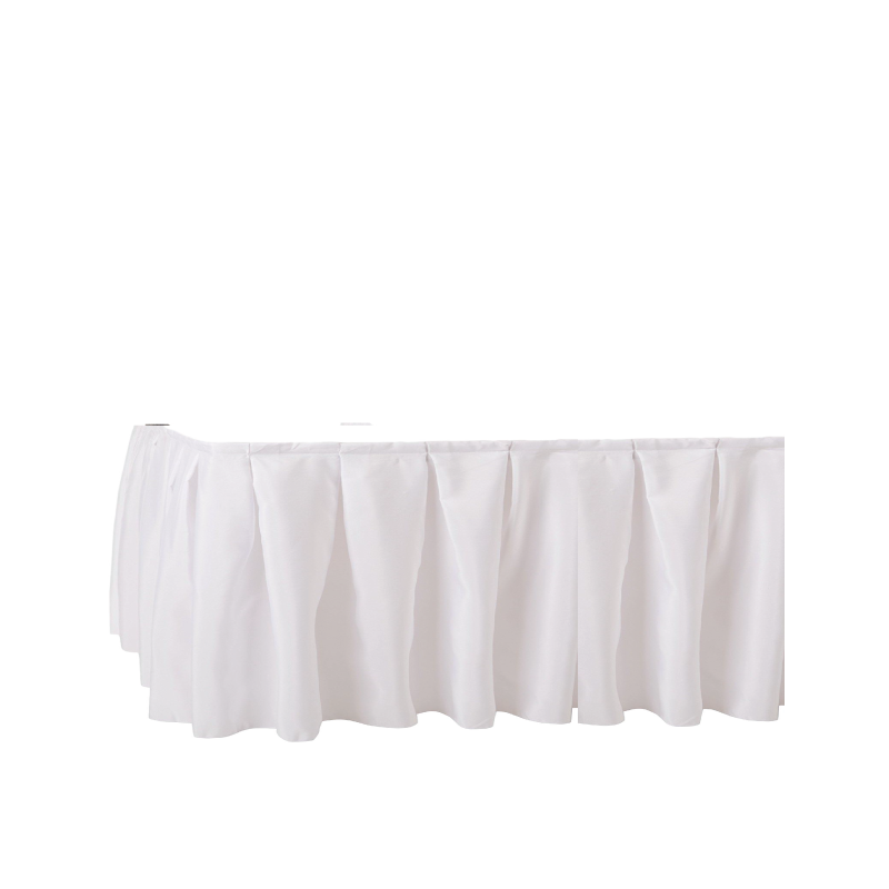 """WHITE STAGE SKIRTING   available in: 29""""x17', 29""""x21', 47""""x7', 47""""x9', 47""""x17', 47""""x21'"""