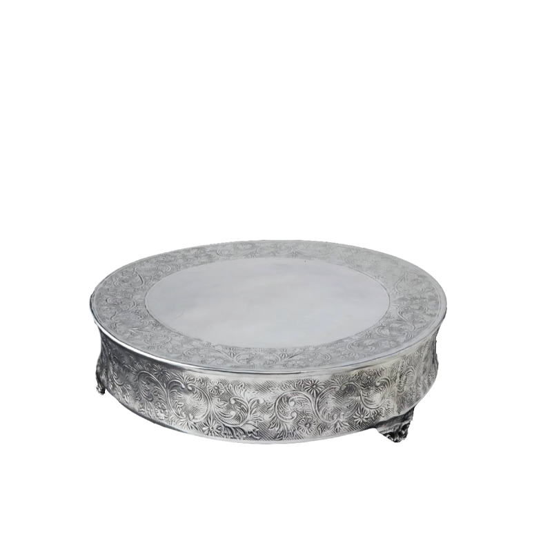 "ORNATE SILVER ROUND CAKE PLATEAU   available in: 18"", 22"""