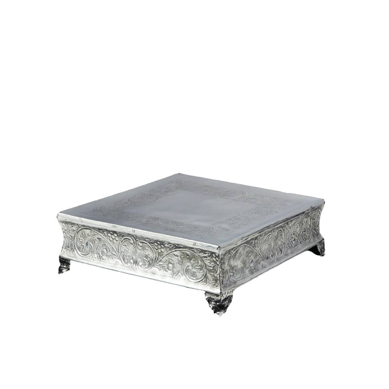 "ORNATE SILVER SQUARE CAKE PLATEAU   available in: 18"", 22"""
