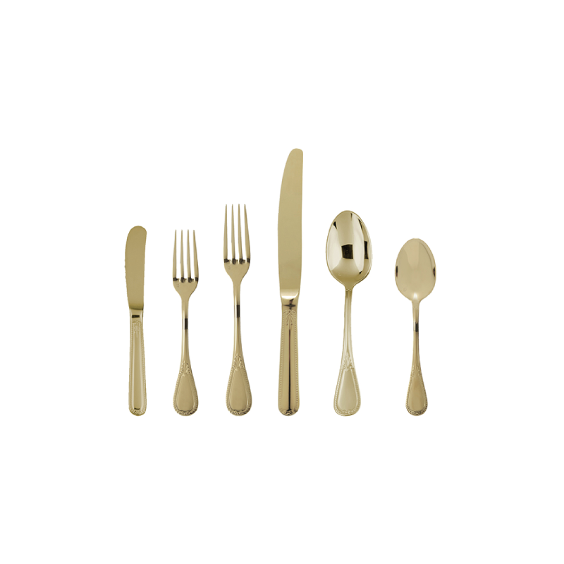 "ELEGANCE FLATWARE   available in: Butter Knife (6.8""), Salad/Dessert Fork (7""), Salad Knife (8.5""), Table Fork (8.1""), Dinner Knife (9.8""), Dessert/Oval Spoon (7""), Tea/Coffee Spoon (5.5"")"
