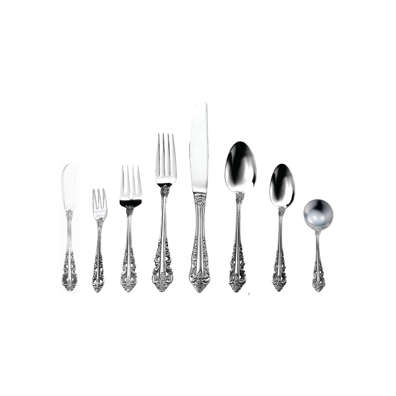 "ABBEY FLATWARE   available in: Butter Knife (7""), Cocktail Fork (5.6""), Salad Fork (7""), Dinner Fork (8.1""), Dinner Knife (9.75""), Salad Knife (9""), Dessert/Soup Spoon (6.9""), Teaspoon (6""), Bouillon Spoon (6"")"