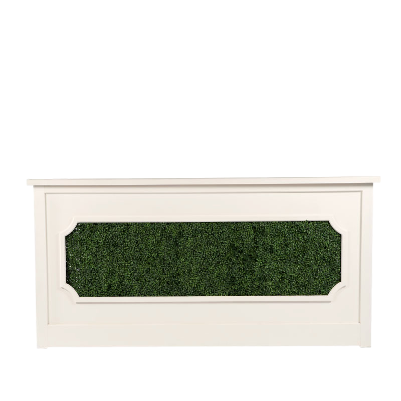 "GEORGIA BAR FACADE WITH BOXWOOD INSERT   8'l x 44""h x 15"" top with 16"" side returns"